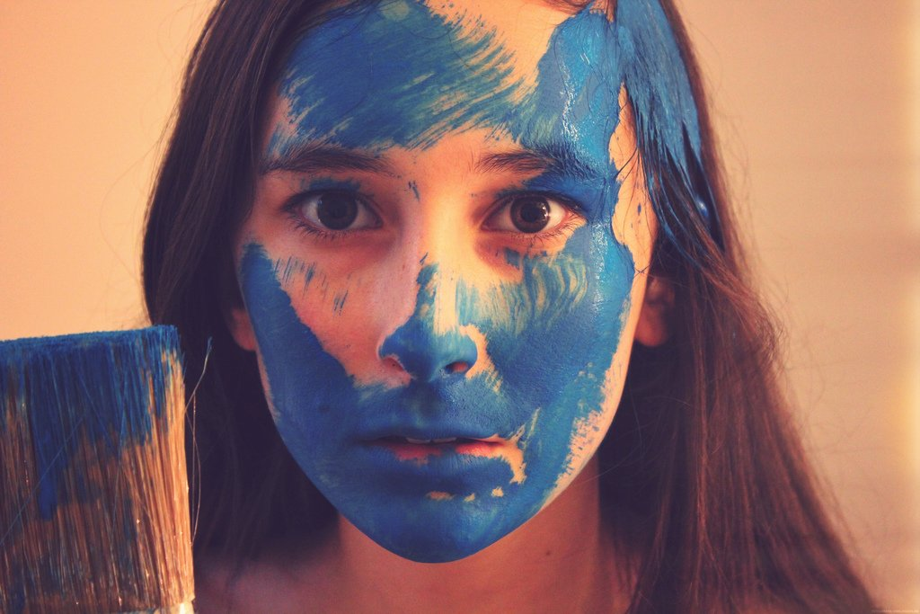Girl w: Blue Paint on Face - Teen Rehab