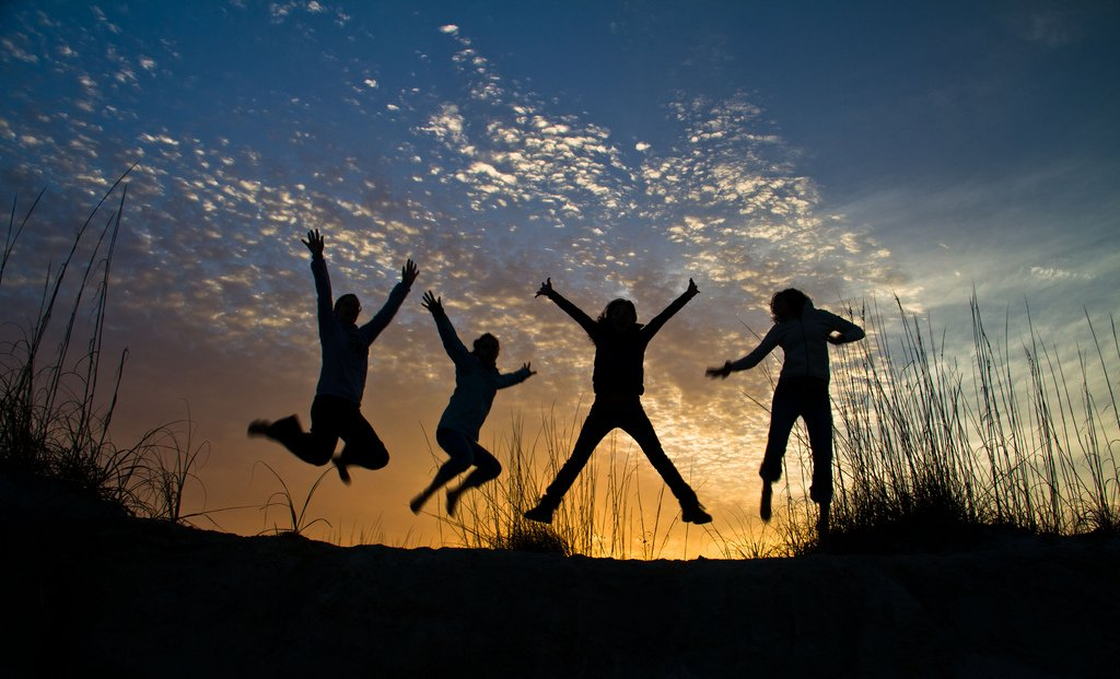 Four Teenagers Jumping Sunset Silhuettes - Teen Rehab