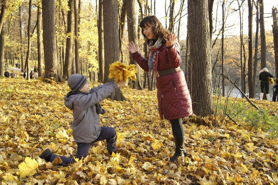Mom and Son in Leaves - Teen Rehab