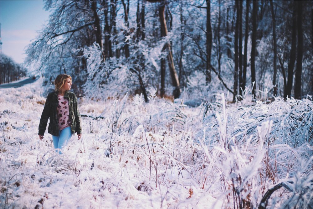 woman forest frost winter